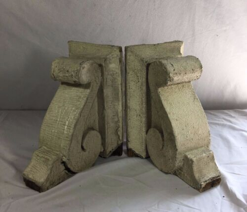 1890's Antique Pair(2) Wood Corbels Brackets Victorian Gingerbread White 406-17