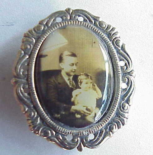 Antique Nomy Button Clip On Photograph. Father & Daughter? Brother & Sister?