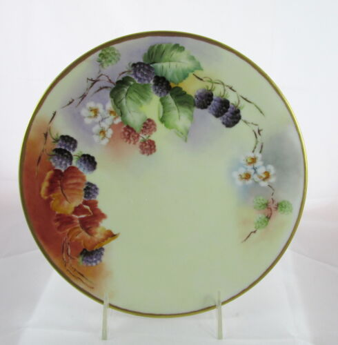 Antique Limoges Hand Painted Artist Signed Blackberries Flowers Porcelain Plate
