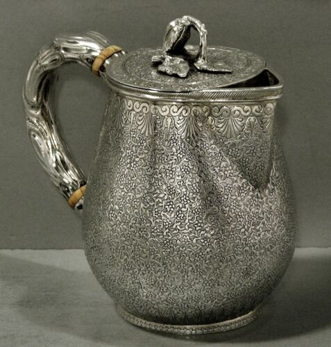 Indian Silver Teapot     c1890    BRANCH HANDLE          HAND DECORATED