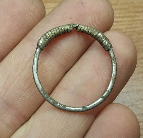 ANCIENT CELTIC SILVER COILED  RING - 1pc.  #2361