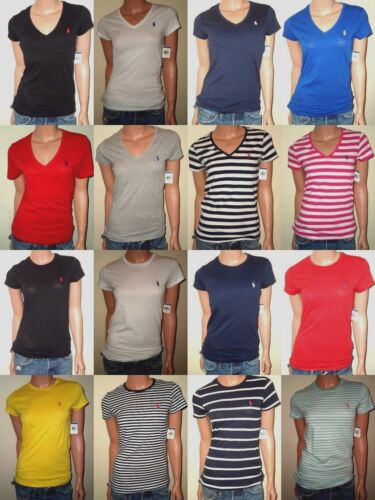 POLO RALPH LAUREN WOMEN'S T-SHIRTS V-NECK - CREW NECK COTTON JERSEY XS,S,M,L,XL