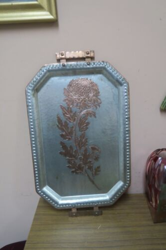 """ANTIQUE CONTINENTAL BEATEN COPPER TRAY #655 WITH CHRYSANTHEMUM 12.5"""" X 18.5"""""""