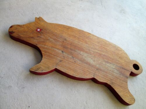 """Antique HEAVY THICK Old Red Paint 18"""" PIG Cutting BREAD Board Primitive vintage"""