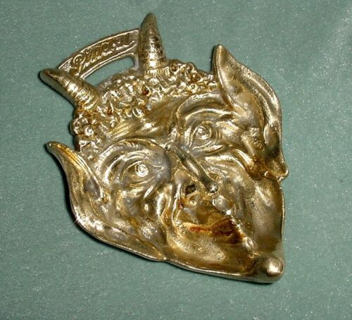 OLD 'PINERAL' ADVERSITING BRONZE DISH TRAY DEVIL HORNED DEVILISH MASK HEAD 5""