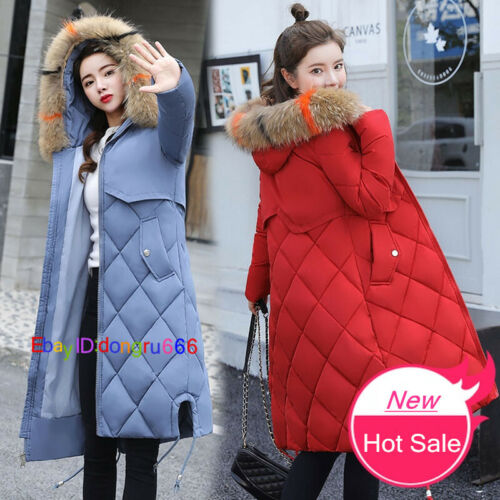 2017 Women Winter Slim Down Cotton Coat Long Hooded Fur Jacket Parka Outwear