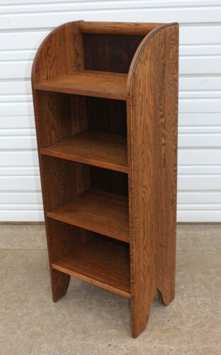 Antique Heavy Solid Oak Sided Open Book Case Shelf Rack Stand Pine Wood Shelves