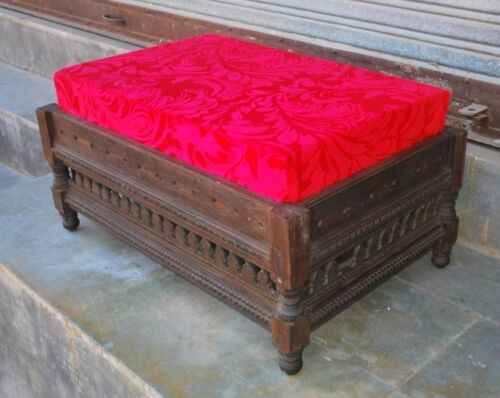 Old Antique Indian Wooden Hand Carved Indian Royal Furniture Ottoman Setting