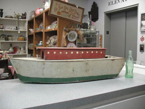 "Large 30"" Long 8 3/4"" Wide 8 1/4"" High Antique Primitive Handmade Folk Art Boat"