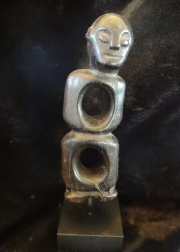 Tribal Asmat Nose Piercing Horn Statue Figure Papua New Guinea Ethnographic Art