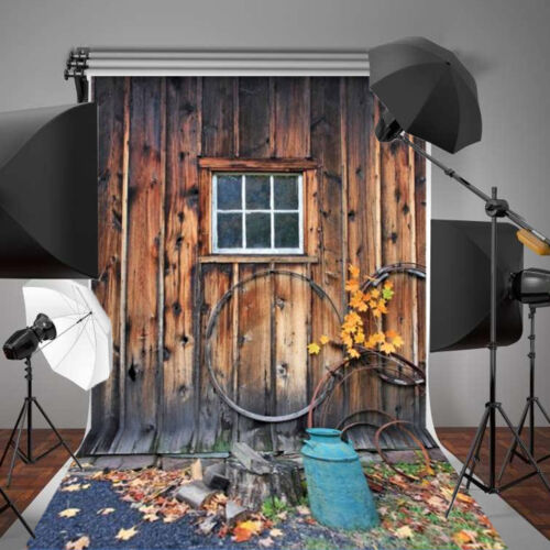5x7ft Autumn Wooden Windows Background Studio Photography Photo Backdrop Props