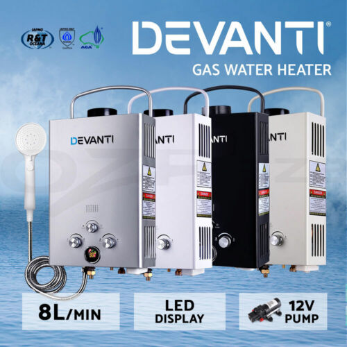 Devanti Gas Hot Water Heater Portable Shower Pump Camping LPG Caravan Outdoor <br/> Aust Standard / Deluxe Showerhead / Safe & Easy to Use!
