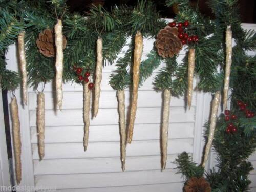 Primitive Christmas Icicles w/ Mica - Set of 12 - Best Seller!
