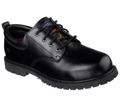 77024 Black Skechers shoes Work Men Memory Foam Leather Slip Resistant Steel Toe