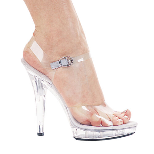"""5"""" Inch Fitness Competition Bikini Contest Posing Heels Clear Shoes Size 5 6 7 8"""