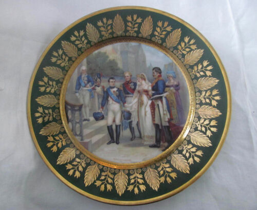 1800s Antique French Cabinet Plate~Napoleon Queen Louisa of Prussia~Sevres Style