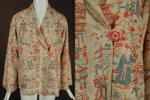 Vintage Antique Chinese Figural Pastel Silk Embroidered Piano Shawl Coat Jacket