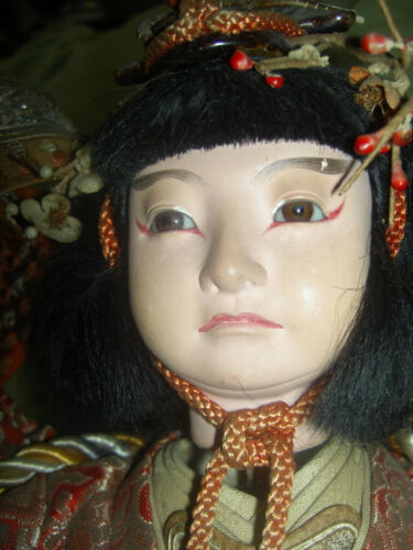"Wonderful, antique JAPANESE ""Onna-Bugeisha,"" female warrior doll with glass eyes"