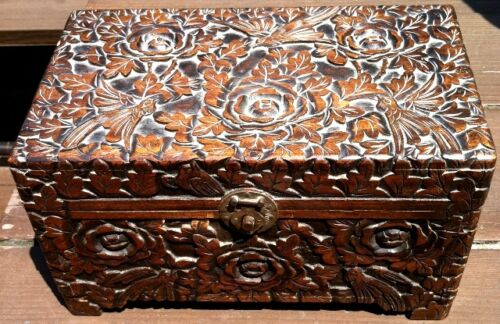 Vintage Wood Jewelry Treasure Box w/ Carved Birds and Flowers