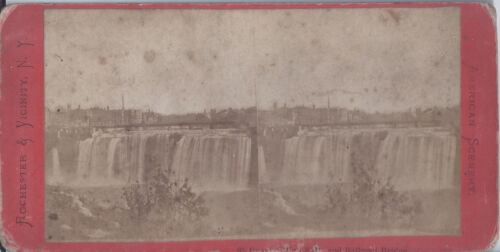 1890s STEREOVIEW ROCHESTER NY & VICINITY GENESEE FALLS & RAILROAD BRIDGE