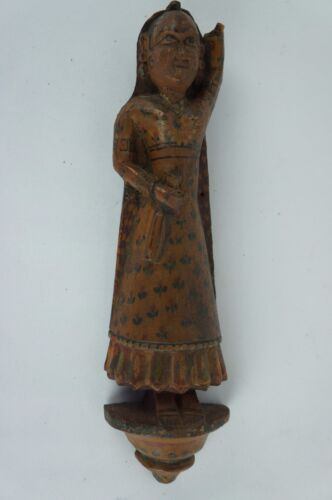 "Antique Wooden Indian Hindu Carved Woman Figurine ca. 1900 8"" [Y8-W6-A8]"