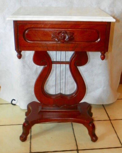 Mahogany Carved Lyre Base Marble Top End Table / Side Table