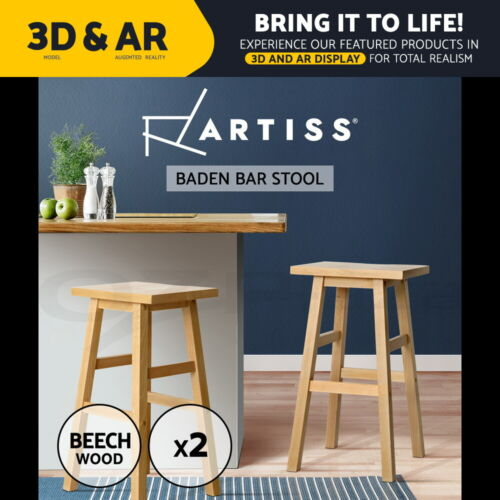 Artiss 2 x Wooden Kitchen Bar Stools Bar Stool Chairs Barstools Nature <br/> ✔Fast Dispatch✔Solid Wood Frame✔Smooth Finish