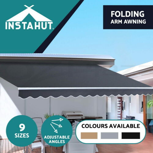 Instahut Outdoor Folding Arm Awning Retractable Sunshade Canopy Grey 9 sizes <br/> ✔Top quality✔Marquee Tents✔Wall Mount✔Adjustable angles