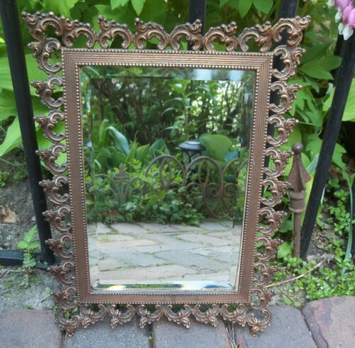 """Antique Copper Mirror Ornate Heavy Frame With Beveled Glass 13.5"""" x 10"""""""