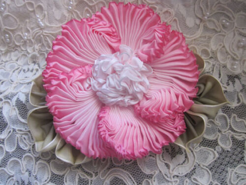 Sale Vintage style ribbonwork flower corsage, handsewn, french ombre