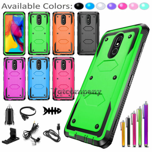 LG Stylo 3 /4 Plus Shockproof Impact Hybrid Armor Rubber Rugged Case Phone Cover