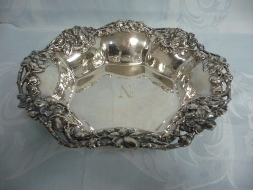 BEAUTIFUL FLORAL REPOUSSE STERLING BOWL BY THEODORE B. STARR, NEW YORK, MONOGRAM