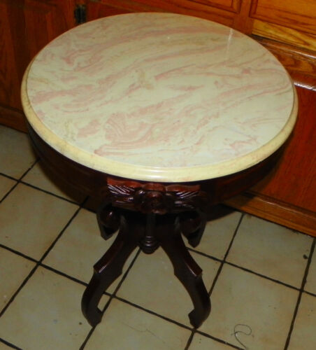 Round Mahogany Carved Marble Top Table