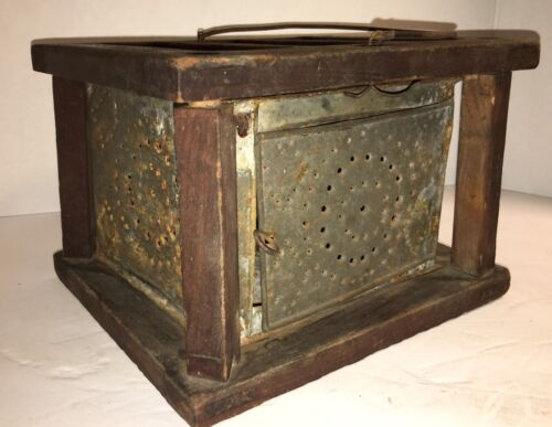 Antique Primitive Sleigh Wagon Carriage or Buggy Foot Warmer with Punched Tin