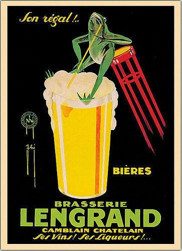 Lengrand by Phi Art Print Beer Drinking Frog Bar Art Vintage Ad Poster 48x34