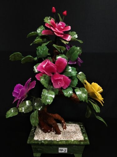 Hand Carved Jade Mixed Colors Flowers (99-2)