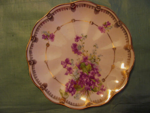 Purple Violets Antique PRUSSIA Germany Plate c1900~Blue Forget Me Not Flowers