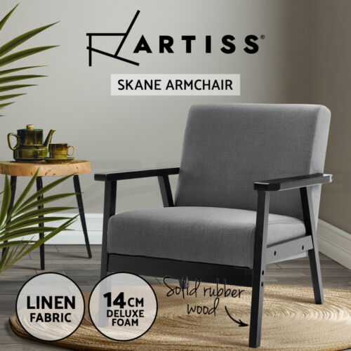 Artiss Armchair Lounge Chair Sofa Chairs Fabric/Wooden Armchairs Scandinavian <br/> ✔Fabric Upholstered✔Wingback Design✔Extra Thick Foam