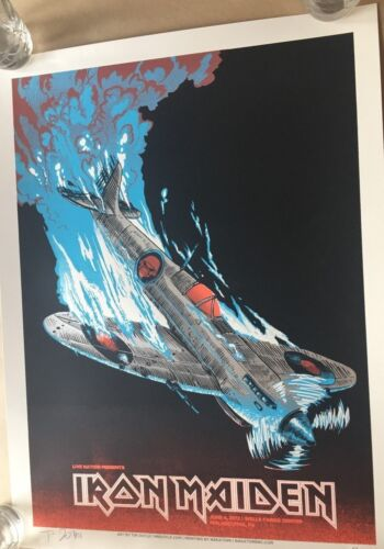 Iron Maiden Concert Poster 6/4 2017 Philly PA Tim Doyle Signed & Numbered ?/ 666