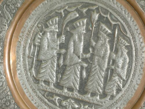"""Vintage Copper Hand Etched Persepolis Islamic Tray Ghalamzani 12"""" Wall Art Plate"""