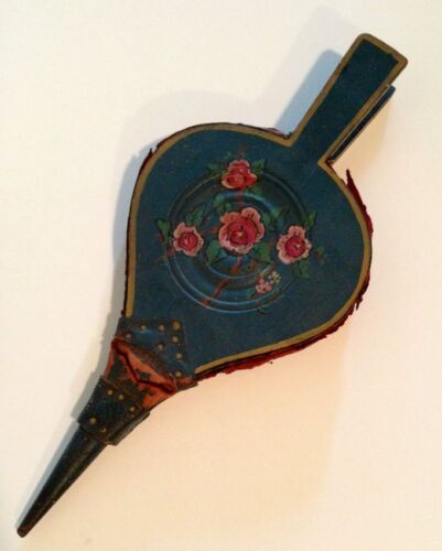Antique 19thC Folk Art Painted Floral French Blue Painting Original Bellows