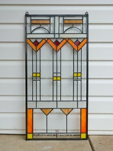 """17"""" x 34"""" Stained Beveled clear window panel FRANK LLOYD WRIGHT TREE OF LIFE"""
