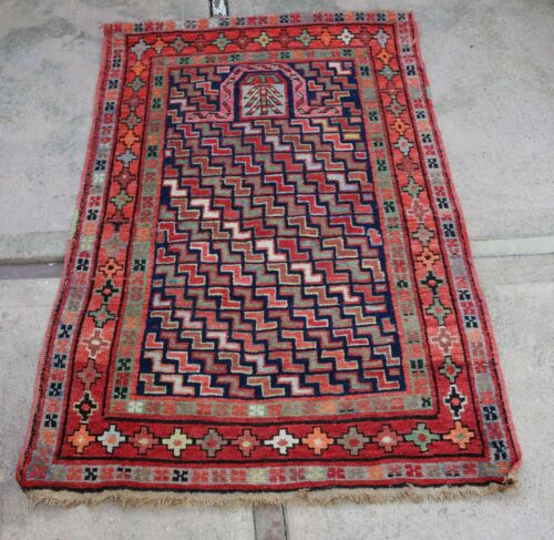"Attractive Antique Hand Knotted Armenian or Caucasian Prayer Rug  35"" x 52"""