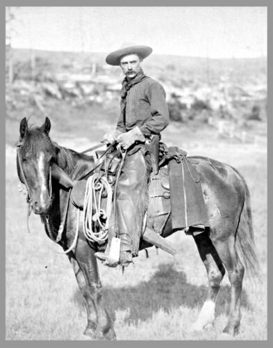 """THE COWBOY, antique photo, OLD WEST, 8""""x11"""" print John Grabill, Horse, Western"""