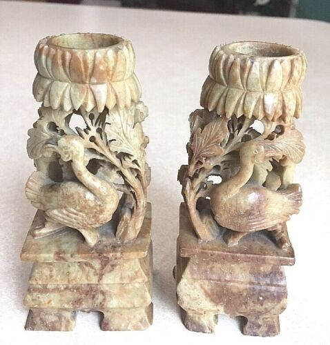 Antique Asian delicately carved pair of matching candlesticks in soapstone, 5 in
