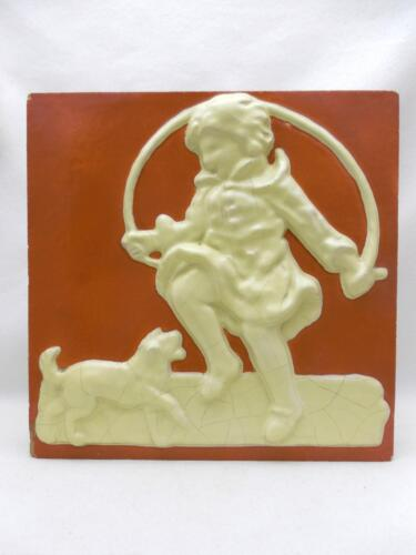American Encaustic? Stove, Architectural, ART TILE Child w Jump Rope & Dog