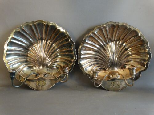 Pair (2) LG Antique ENGLISH SILVER over COPPER Nautical CLAM Sea SHELL SCONCE