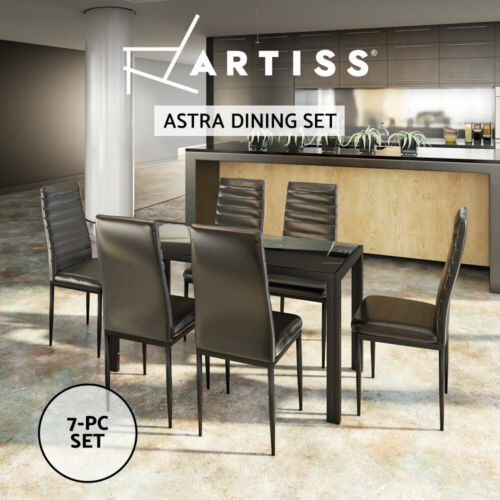 Artiss Astra  7-Piece Dining Table and Chairs Dining Set Glass Leather Seater BK <br/> Premium Quality, Fast Deliver, Best Service, Buy It Now