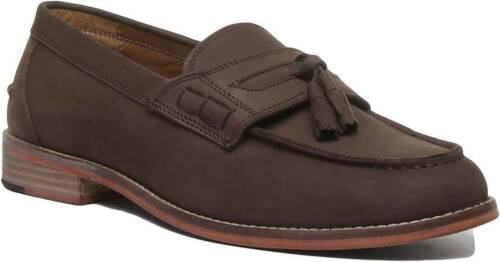 Justin Reece Mens Leather Versatile Loafer Shoes Various Colours Size UK 7 - 12