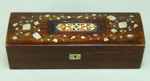 !Antique FINE Rose Wood Box w. Mother-of-Pearl Inlay & PIETRA DURA Micro-Mosaic